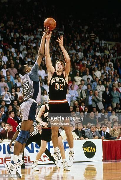 NCAA Playoffs Princeton Bob Scrabis in action attempting game winning shot vs Georgetown Alonzo Mourning Shot blocked Providence RI 3/17/1989 CREDIT...
