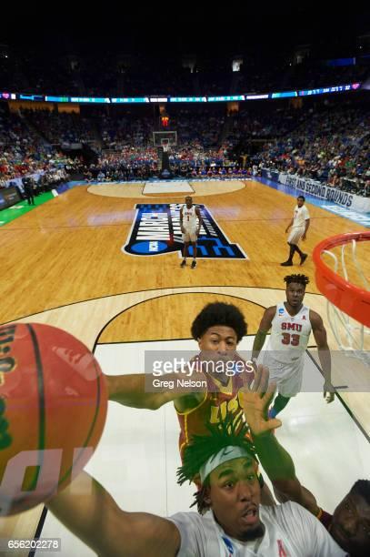 NCAA Playoffs SMU Ben Moore in action vs USC Elijah Stewart at Bon Secours Wellness Arena Greenville SC CREDIT Greg Nelson