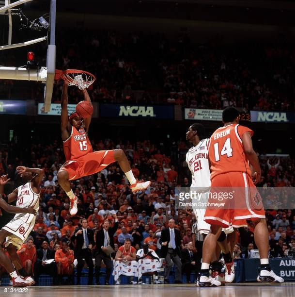 College Basketball NCAA playoffs Syracuse Carmelo Anthony in action making dunk vs Oklahoma Albany NY 3/30/2003
