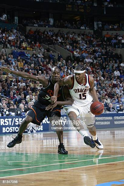 College Basketball NCAA playoffs Syracuse Carmelo Anthony in action vs Oklahoma State Melvin Sanders Boston MA 3/23/2003