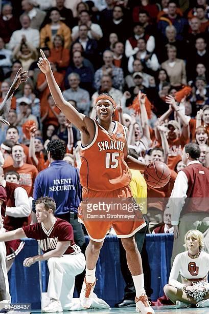 College Basketball NCAA playoffs Syracuse Carmelo Anthony in action vs Oklahoma Albany NY 3/30/2003