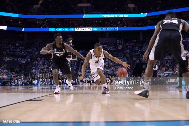 NCAA Playoffs Texas AM TJ Starks in action shooting vs Providence Isaiah Jackson at Spectrum Center Charlotte NC CREDIT Chris Keane