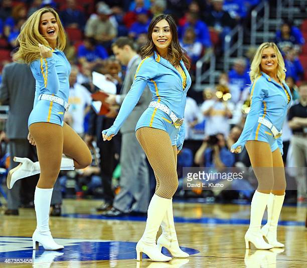 NCAA Playoffs UCLA cheerleaders on court during game vs Alabama Birmingham at KFC Yum Center Louisville KY CREDIT David E Klutho