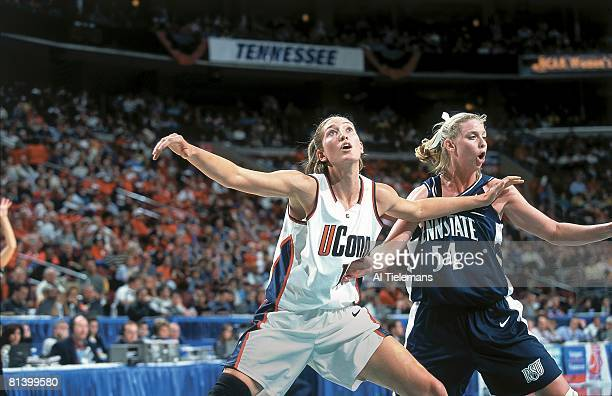 College Basketball NCAA playoffs UConn Kelly Schumacher in action boxing out vs Penn State Maren Walseth during semifinals Philadelphia PA 3/31/2000