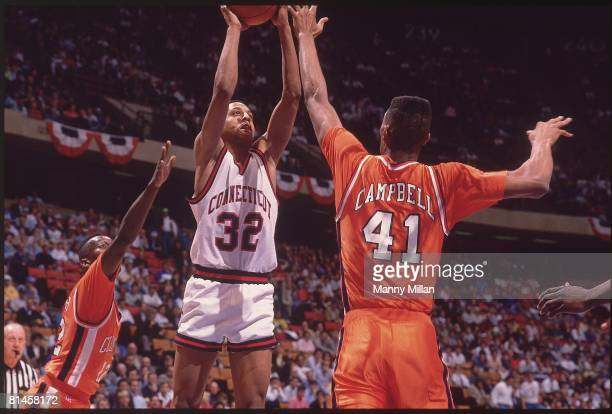College Basketball NCAA Playoffs UConn Tate George in action taking shot vs Clemson East Rutherford NJ 3/22/1990