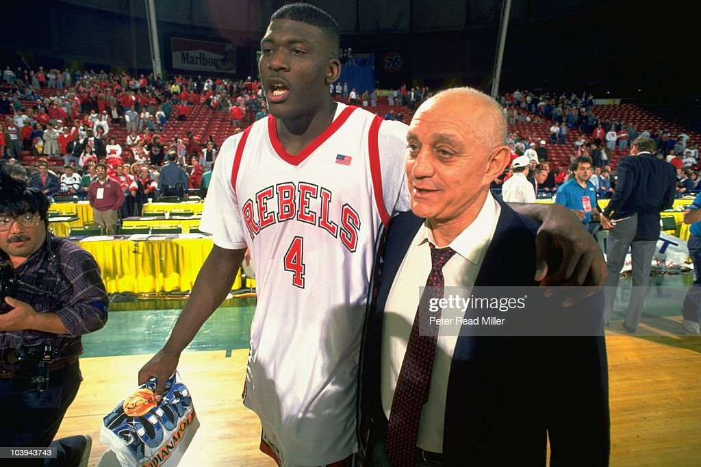 UNLV Coach Jerry Tarkanian And Larry Johnson Victorious After