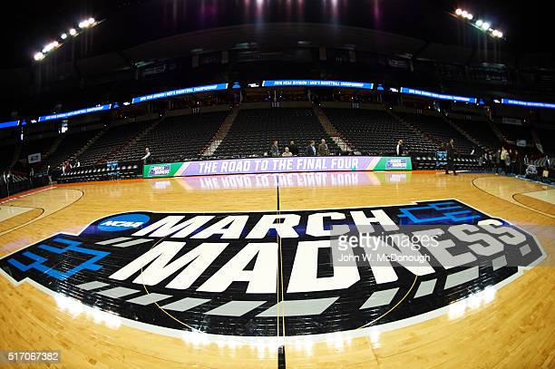 NCAA Playoffs View of MARCH MADNESS logo on court before Maryland vs Hawaii game at Spokane Veterans Memorial Arena Spokane WA CREDIT John W McDonough