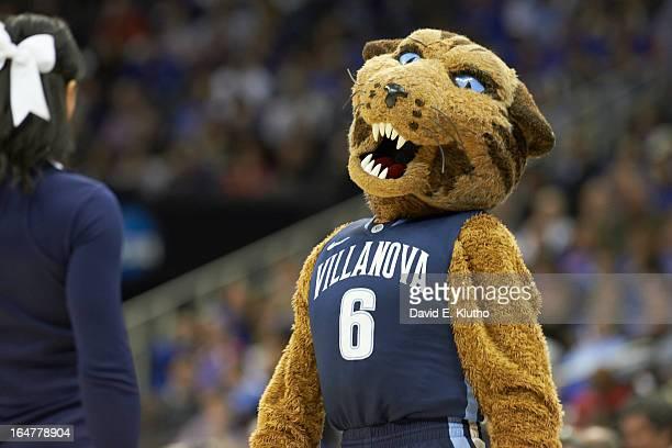 NCAA Playoffs Villanova Wildcats mascot Will D Cat on court during game vs North Carolina at Sprint Center Kansas City MO CREDIT David E Klutho