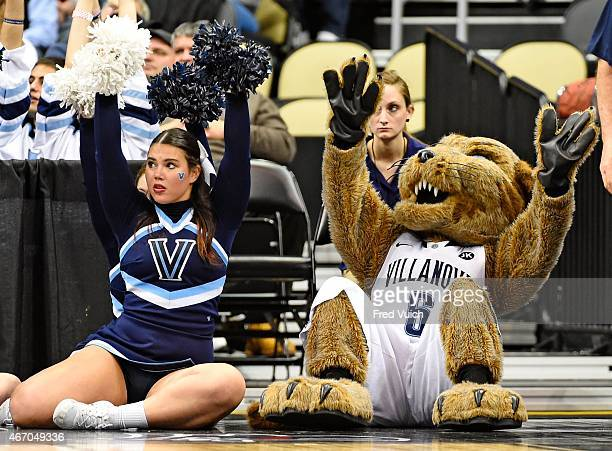 NCAA Playoffs Villanova Will D Cat mascot and cheerleader sitting on court during game vs Lafayette Bryce Scott at Consol Energy Center Pittsburgh PA...