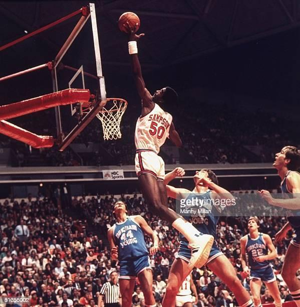 College Basketball NCAA Playoffs Virginia Ralph Sampson in action vs Brigham Young Greg Kite and Steve Trumbo Cover Atlanta GA 3/22/1981