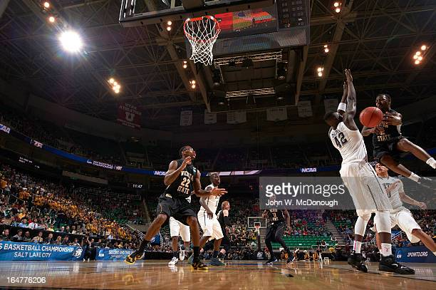NCAA Playoffs Wichita State Malcolm Armstead in action vs PIttsburgh Talib Zanna at Energy Solutions Arena Salt Lake City UT CREDIT John W McDonough