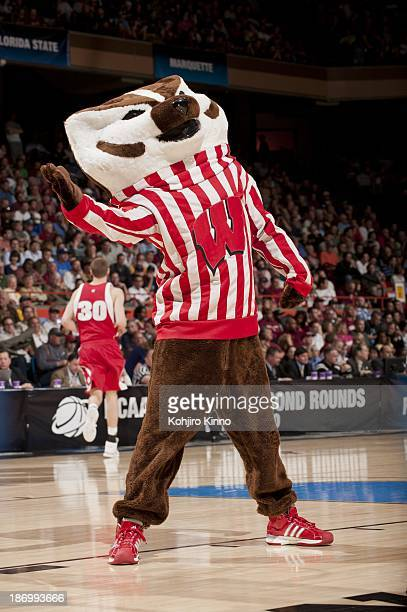 NCAA Playoffs Wisconsin Badgers mascot Bucky Badger during game vs Florida State at Taco Bell Arena Boise ID CREDIT Kohjiro Kinno