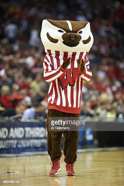 NCAA Playoffs Wisconsin mascot Bucky Badger during game vs American at BMO Harris Bradley Center Milwaukee WI CREDIT Al Tielemans