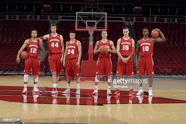 Season Preview: Portrait of University of Wisconsin players point guard Traevon Jackson , power forward Frank Kaminsky , guard Bronson Koenig ,...