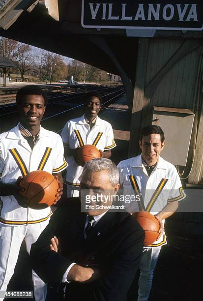 NCAA Season Preview Portrait of Villanova head coach Jack Kraft with Johnny Jones Howard Porter and Frank Gillen during photo shoot on the Penn...