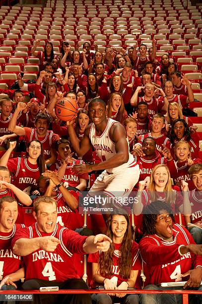 NCAA Tournament Preview Portrait of Indiana point guard Victor Oladipo during photo shoot with student section at Assembly Hall Bloomington IN CREDIT...