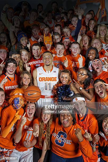NCAA Tournament Preview Portrait of Syracuse guard Tyler Ennis during photo shoot with student section at Manley Field House Cover Syracuse NY CREDIT...