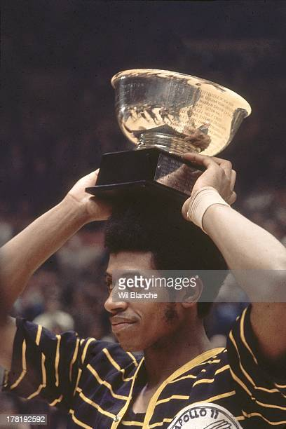NIT Finals Closeup of Marquette Dean Meminger victorious with MVP trophy after winning game vs St John's at Madison Square Garden New York NY CREDIT...