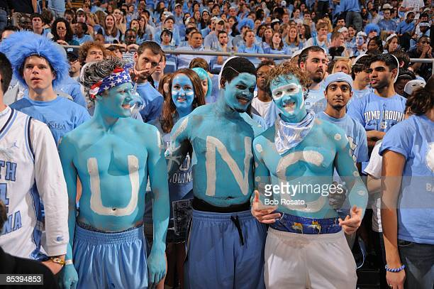 North Carolina fans in stands wearing body paint with letters spelling out U-N-C during game vs Duke. Chapel Hill, NC 3/8/2009 CREDIT: Bob Rosato