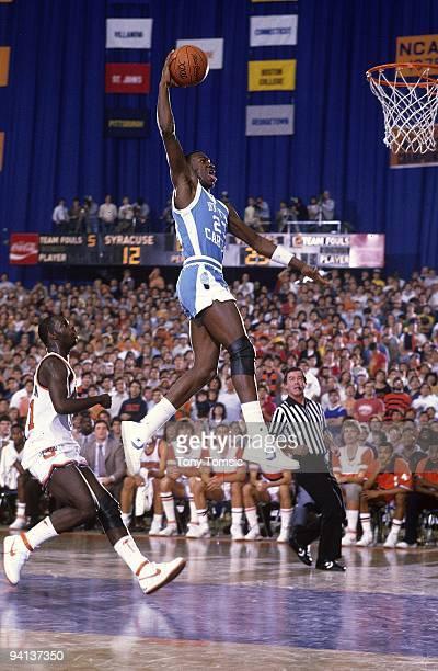 North Carolina Michael Jordan in aciton dunk vs Syracuse Syracuse NY CREDIT Tony Tomsic