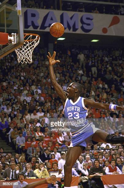 North Carolina Michael Jordan in action layup vs Maryland College Park MD 1/12/1984 CREDIT Jerry Wachter