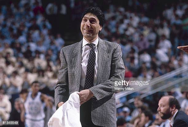 College Basketball North Carolina State coach Jim Valvano during game vs North Carolina Chapel Hill NC 1/20/1989