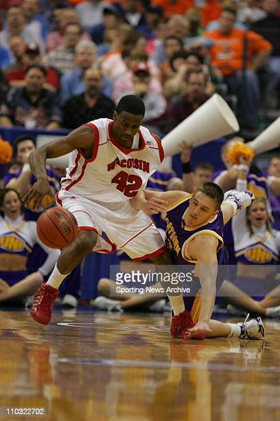 College Basketball Northern Iowa Brooks McKowen against Wisconsin Alando Tucker during the First Round of the NCAA tournament in Oklahoma City Okla...