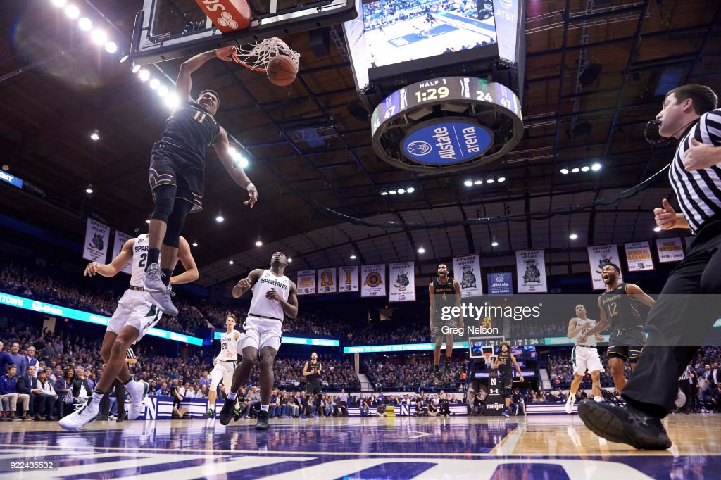 Northwestern Anthony Gaines (11) in action, dunking vs Michigan State at Allstate Arena. Greg Nelson TK1 )