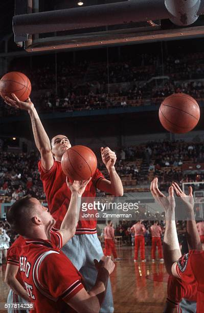 Ohio State Jerry Lucas in action taking shot during warmups before game vs Indiana at St John Arena Cover Columbus OH CREDIT John G Zimmerman