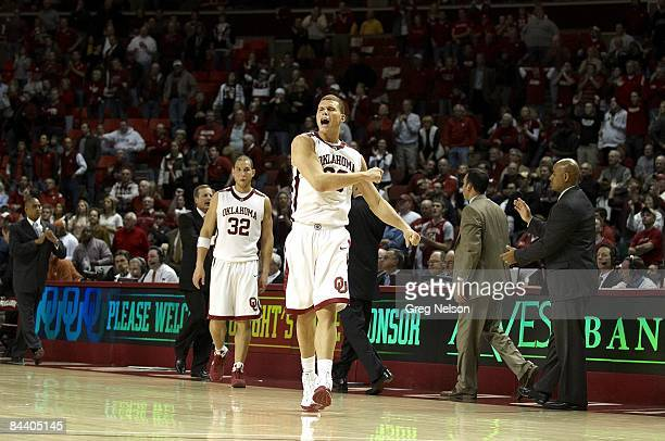 Oklahoma Blake Griffin victorious during game vs Texas Norman OK 1/12/2009 CREDIT Greg Nelson
