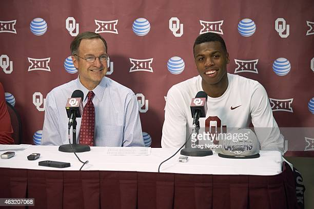 Oklahoma Buddy Hield with coach Lon Kruger during press conference after game vs Missouri at Lloyd Noble Center Norman OK CREDIT Greg Nelson