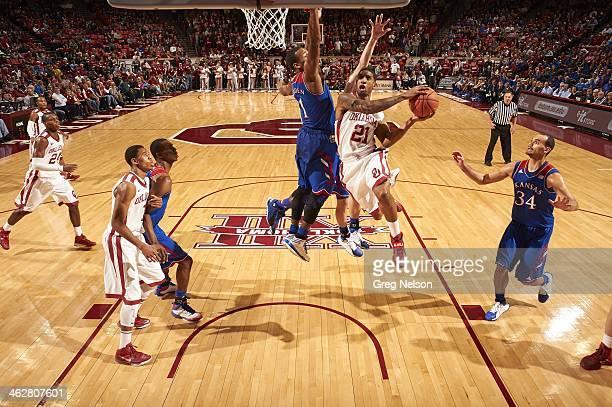 Oklahoma Cameron Clark in action vs Kansas at Lloyd Noble Center Norman OK CREDIT Greg Nelson