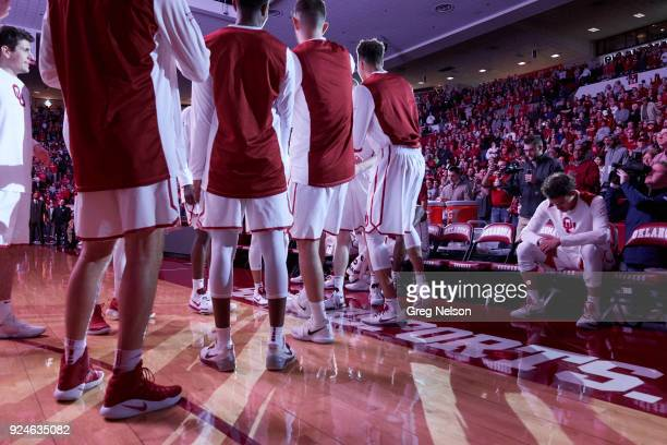 Oklahoma Trae Young on bench during introductions before game vs West Virginia at Lloyd Noble Center Norman OK CREDIT Greg Nelson