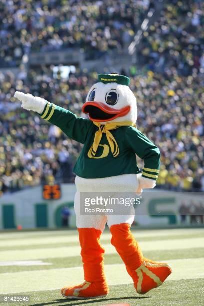 College Basketball: Oregon Ducks Donald Duck mascot during game vs USC, Eugene, OR