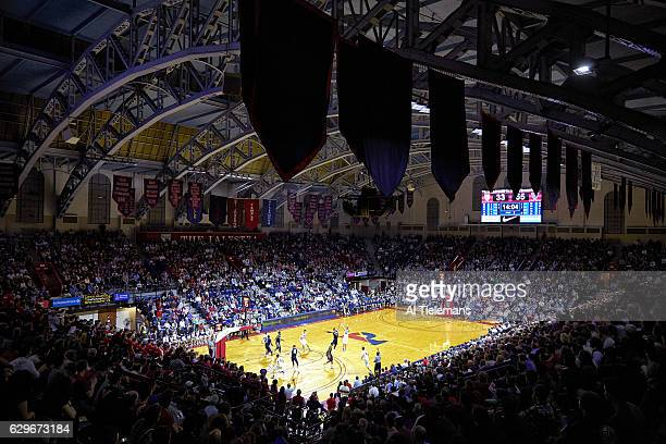 Overall view of Penn Caleb Wood in action three point shot vs Villanova Josh Hart at The Palestra Wide view of court and stadium Philadelphia PA...