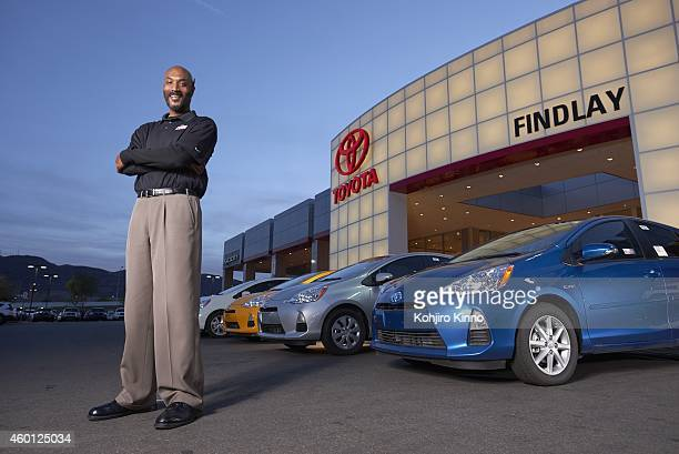 Portrait of car dealership sales manager and former UCLA player Ed O'Bannon during photo shoot at Findlay Toyota O'Bannon who won the 1995 NCAA...