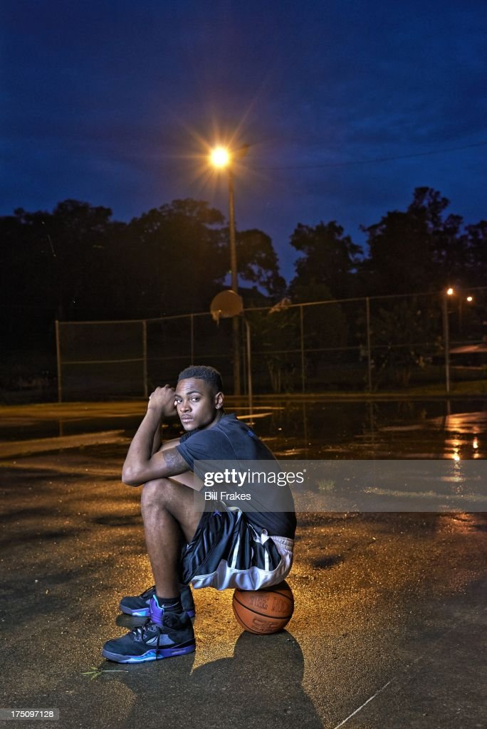 Portrait of Chipola College player Torian Graham during photo shoot on playground court. Graham, who has played at multiple colleges and high schools during his career, represents the high frequency of transfers over the last seven seasons. Bill Frakes F7 )