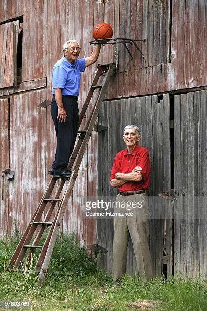 Portrait of former University of Utah teammates Wat Misaka and Arnie Ferrin Jr during photo shoot The 1944 Utah basketball team led by Ferrin and Wat...