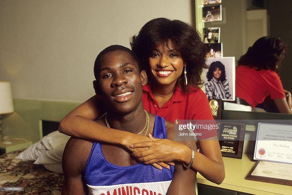 Portrait of Louisiana State Tito Horford with girlfriend Arelis Reynoso. Santo Domingo, Dominican Republic 7/6/1985