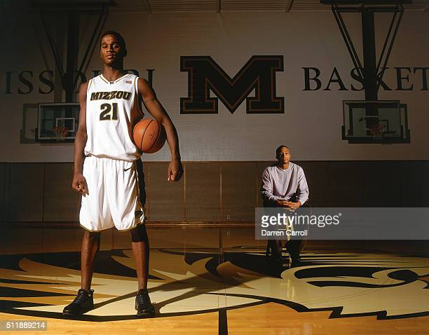 Portrait of Missouri guard Kareem Rush posing with his brother JaRon Rush during photo shoot at practice court on Mizzou campus JaRon a former UCLA...