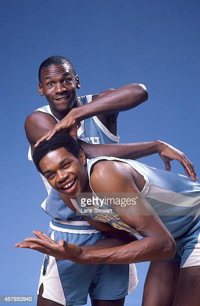 Portrait of North Carolina Michael Jordan and Sam Perkins during photo shoot on University of North Carolina campus Chapel Hill NC CREDIT Lane Stewart