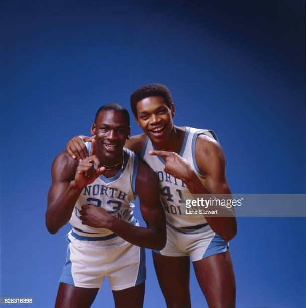 Portrait of North Carolina Michael Jordan and Sam Perkins posing during photo shoot on UNC campus Chapel Hill NC CREDIT Lane Stewart