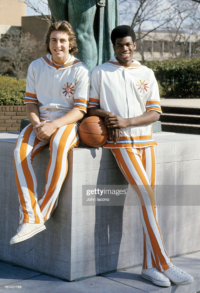 Portrait of Tennessee Ernie Grunfeld (L) and Bernard King during photo shoot in Circle Park on UT campus. John Iacono F33 )