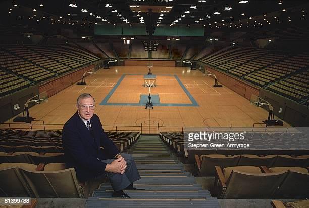 College Basketball Portrait of UCLA coach John Wooden at Pauley Pavilion stadium Los Angeles CA