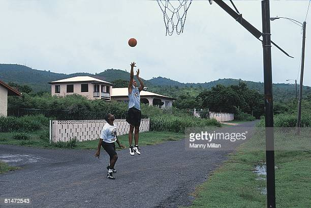 College Basketball Portrait of Wake Forest Tim Duncan in action taking shot vs brother in law Rick Lowery St Croix VI 8/3/1995