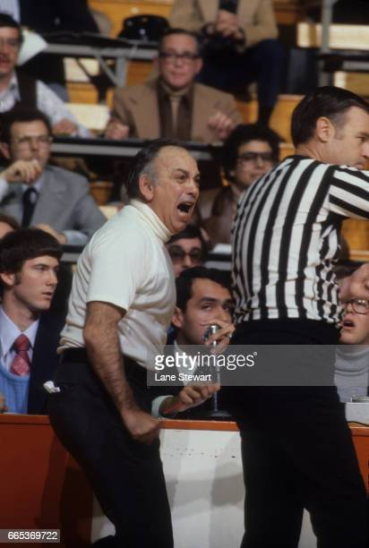 Princeton head coach Pete Carril upset with referee on sidelines during game vs Colgate at Jadwin Gymnasium Princeton NJ CREDIT Lane Stewart
