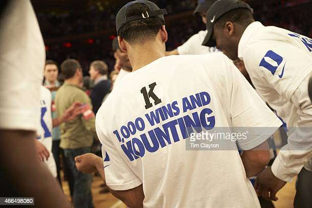 Rear view of Duke player victorious wearing tee shirt that reads K 1000 WINS AND KOUNTING after winning game vs St John's at Madison Square Garden...