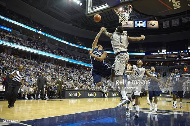Rear view of Georgetown Hollis Thompson in action making block vs Villanova Corey Fisher Washington DC 2/6/2010 CREDIT Lou Capozzola