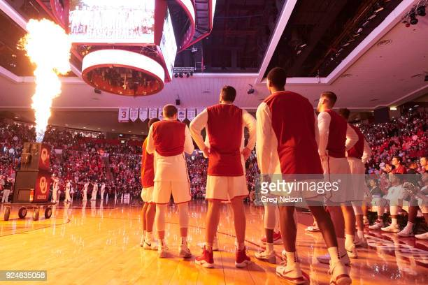 Rear view of Oklahoma players during introductions before game vs West Virginia at Lloyd Noble Center Norman OK CREDIT Greg Nelson
