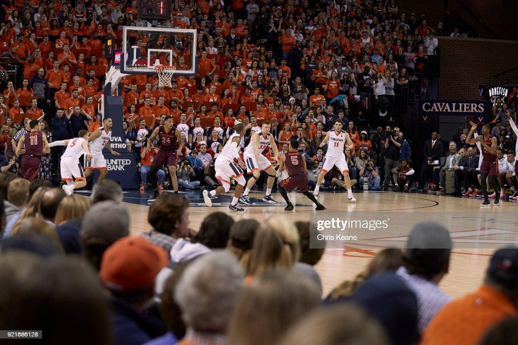 Rear view of Virginia Tech Justin Robinson (5) in action vs Virginia Jack Salt (33) at John Paul Jones Arena. Chris Keane TK1 )